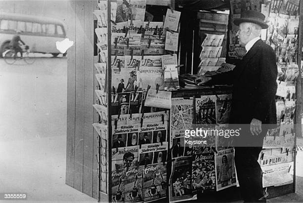 News stand in Paris during the Nazi occupation, selling German newspapers.