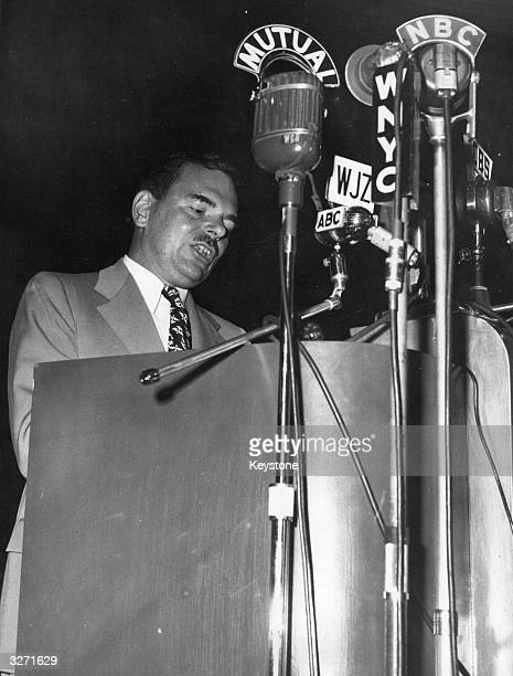 American politician Thomas Edmund Dewey the Governor of New York State and Republican Party presidential candidate addressing the Annual Convention...