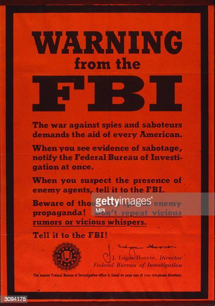 An FBI poster warning against spies and saboteurs and rumours all of which should be reported to the FBI
