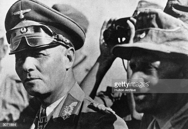 Field Marshal Erwin Rommel with Captain Aldinger Rommel is Commander of the Afrika Korps
