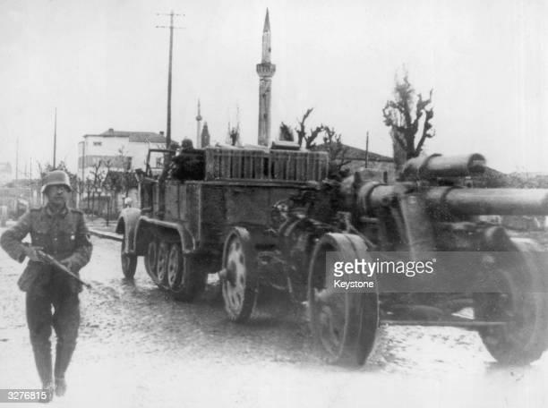 German artillery and infantry entering Skopje in Yugoslavia.