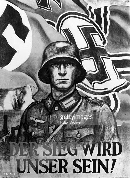 Nazi propaganda poster showing a helmeted soldier in front of swastika flags with the slogan in German 'Victory Will be Ours' World War II
