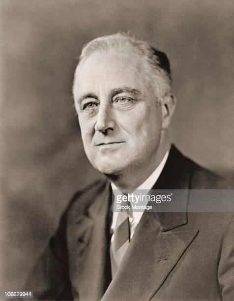 Portrait of Franklin D Roosevelt president of the United States who developed government reforms known as the New Deal secured establishment of...