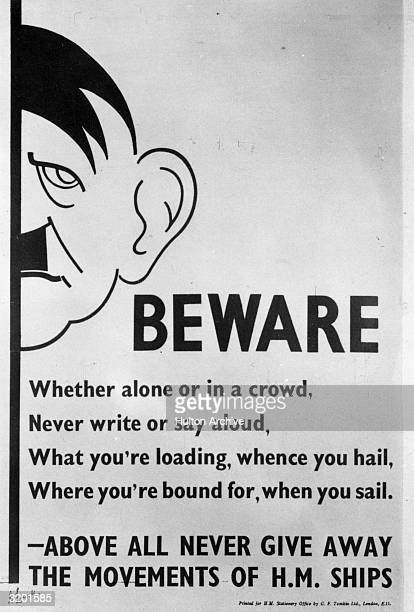 A British antigossip propaganda poster with a caricature of German Fuhrer Adolf Hitler urging soldiers not to talk about military operations during...