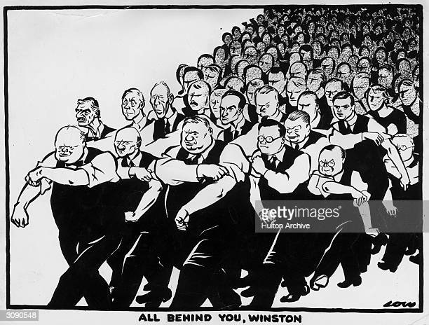 A political cartoon illustrating public support of wartime prime minister Winston Churchill Original Artist By David Low