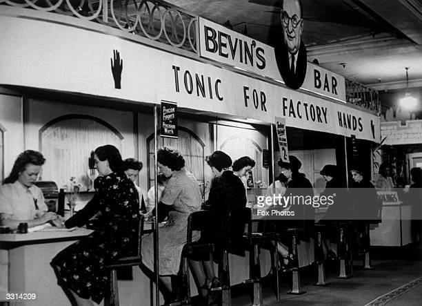 Bevin's Bar at a store in Croydon where the women munition and war workers could have their hands massaged cleaned and oiled