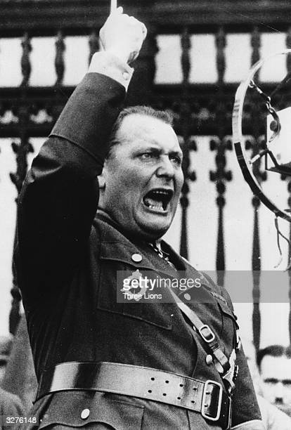 German field marshal and commander in chief of the German air force Hermann Wilhelm Goering addressing a crowd Original Publication From a propaganda...