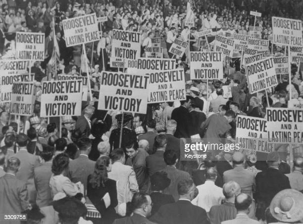 A Chicago stadium where Democratic Party delegates from 48 states parade with their Roosevelt placards following the renomination of American...