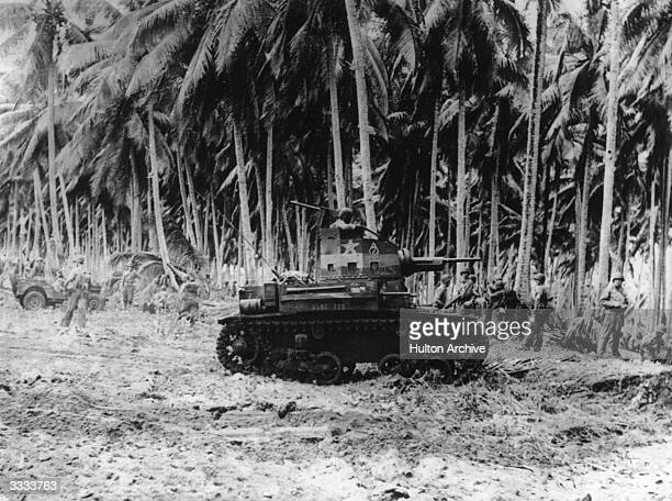 American marines prepare to seek out the enemy in the jungle region of Guadalcanal.