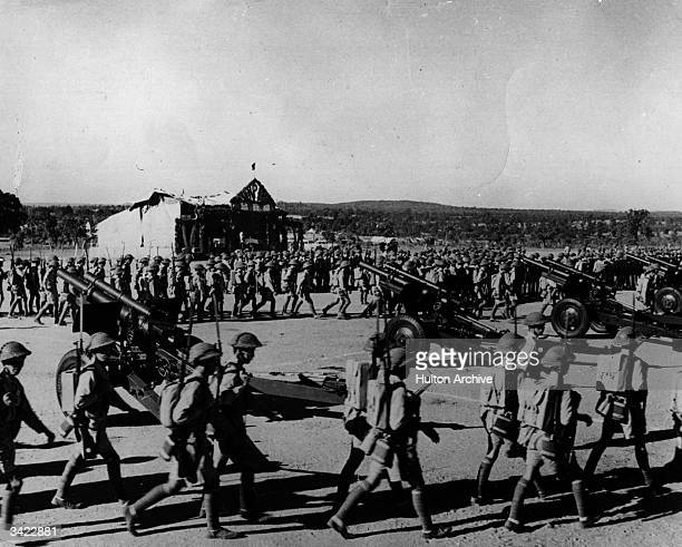 Japanese troops marching from their base camp.