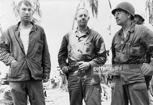 US Marine Corps officers whose units defeated strongly entrenched Japanese forces on Tarawa in the South Pacific Gilbert islands resting at their...