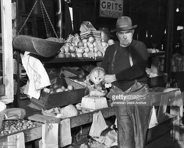 A man holds a possum for sale in front of the vegetable bins at his openair market stall Columbia South Carolina