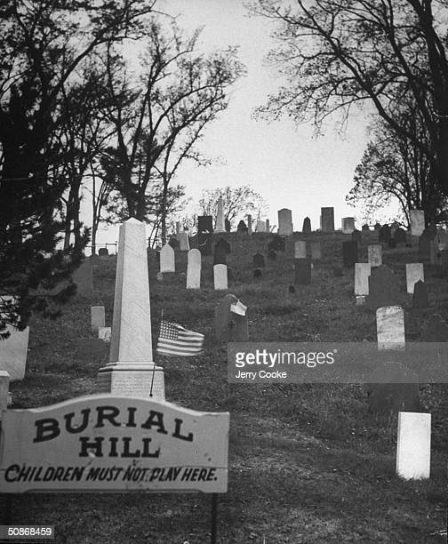 A view of Burial Hill where alot of Pilgrim families where put to rest