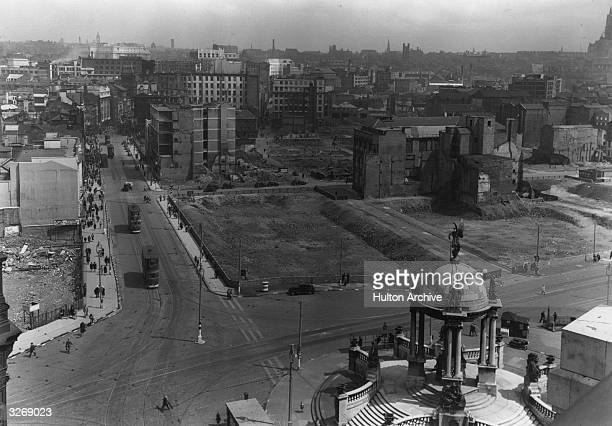 A view over Liverpool streets showing bomb damage