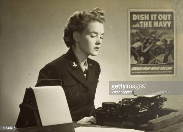 Advertisement shows a woman wearing a US Navy uniform sitting at an office desk behind a typewriter with a poster on the wall reading 'Dish It Out...