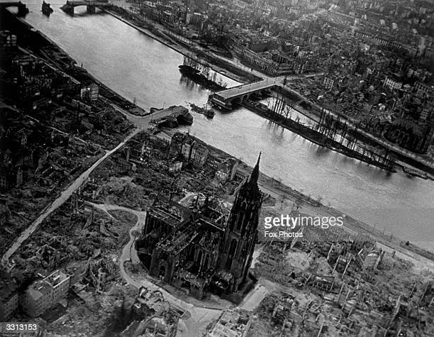An aerial view of Frankfurt showing the ruins of the famous cathedral which was virtually destroyed in the fight for the city