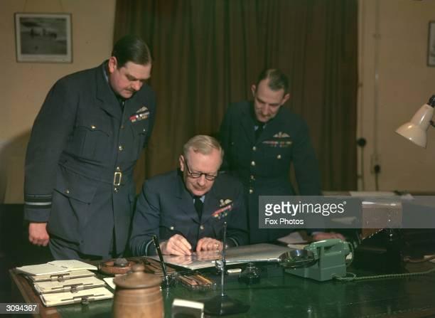 Arthur Harris Commander in Chief Bomber Command Air Vice Marshal RHMS Saunby Senior Air Staff Officer Air Commodore R Harrison Deputy Senior Air...