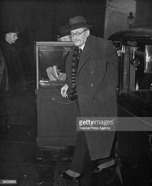 French statesman and premier Leon Blum arriving at 10 Downing Street London for talks with Labour Party leader Clement Attlee He will also have...