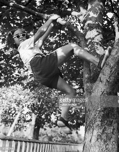 Fulllength image of a girl smiling as she hangs from a tree branch with one foot propped against the tree's trunk She wears sunglasses