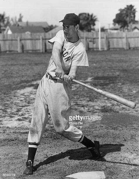 Fulllength portrait of American baseball player Ted Williams aka 'The Splendid Splinter' ourfielder and slugger for the Boston Red Sox taking a swing...