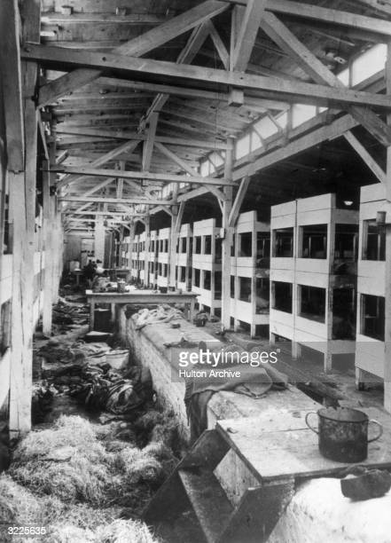 Interior view of an empty barrack at the concentration camp in Auschwitz, after it had been liberated, Poland, World War II.