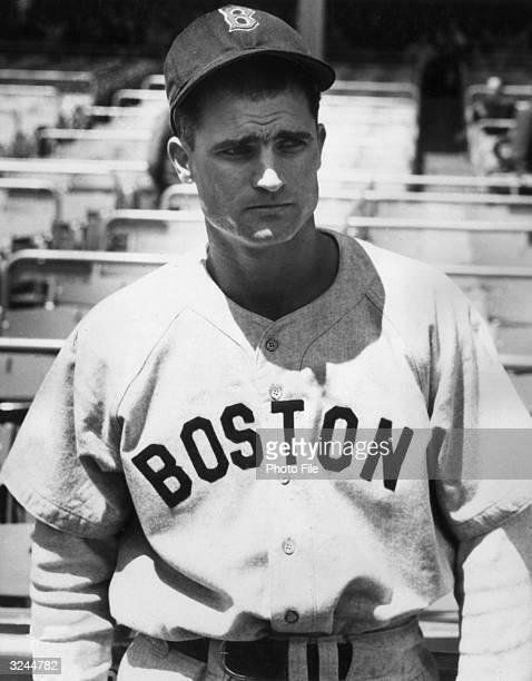 Portrait of American baseball player Bobby Doerr secondbaseman for the Boston Red Sox wearing his uniform
