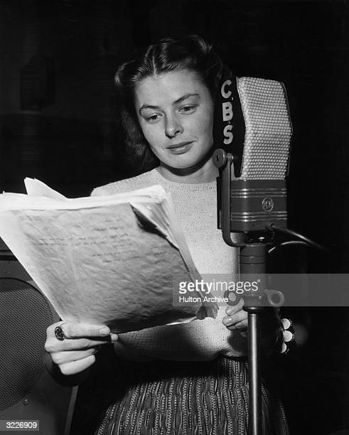 Portrait of Swedishborn actor Ingrid Bergman standing in front of a CBS microphone and reading from American dramatist Eugene O'Neill's play 'Anna...