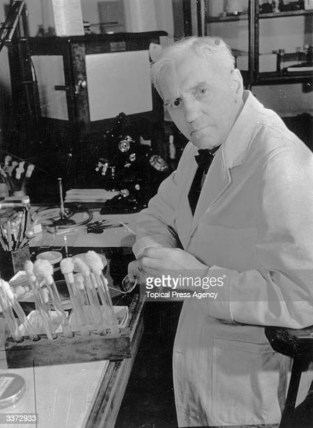 Scottish bacteriologist Sir Alexander Fleming who in 1928 discoved pencillin in his laboratory