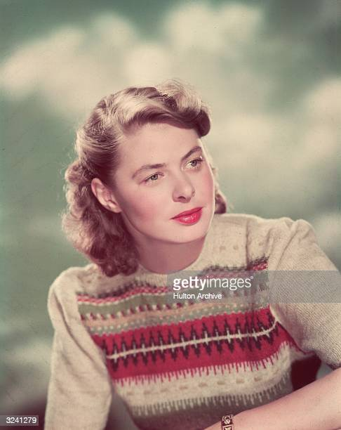 Studio headshot portrait of Swedish-born actor Ingrid Bergman wearing an Fair Isle sweater.