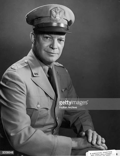 Studio portrait of General Dwight D Eisenhower in uniform wearing a Legion of Merit and Distinguished Service emblem