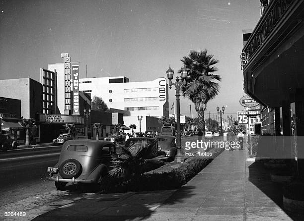 Sunset Boulevard, Hollywood in the 1940's. The Palladium, where Jimmy Dorsey is playing, and the CBS building are visible on the left.