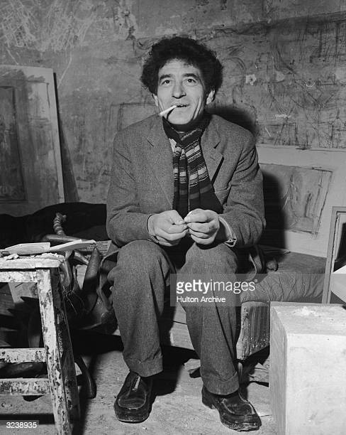 Swiss sculptor Alberto Giacometti his Paris studio