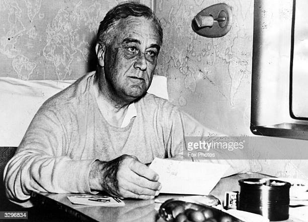 The 32nd President of the United States of America Franklin Delano Roosevelt on board a Clipper aircraft returning to the USA after the Casablana...