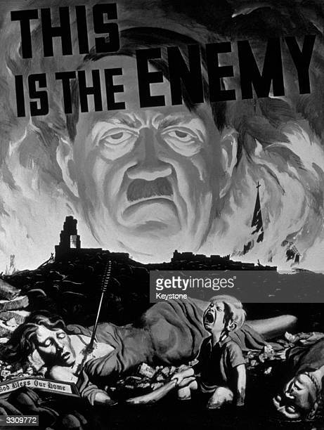 The winning poster of Adolf Hitler 'The Enemy' from a competition organised by the Museum of Modern Art It was designed by Duane Bryers