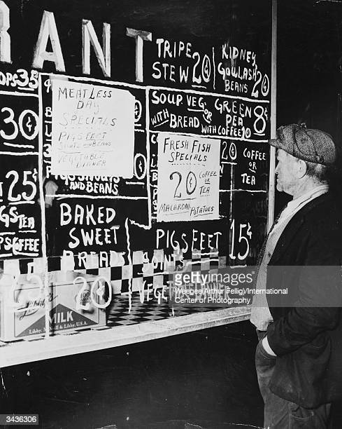 Tripe stew kidney goulash and pig's feet on the menu of a small restaurant Photo by Weegee/International Center of Photography/Getty Images