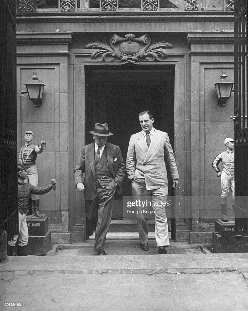 Two men leaving the 21 Club.
