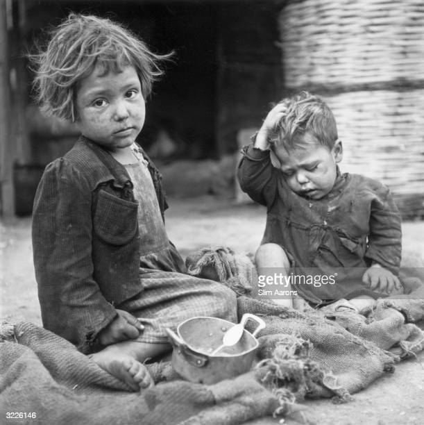 Two young children at a convent in Rome where they are cared for by nuns They are part of a group of children who were abandoned or orphaned during...