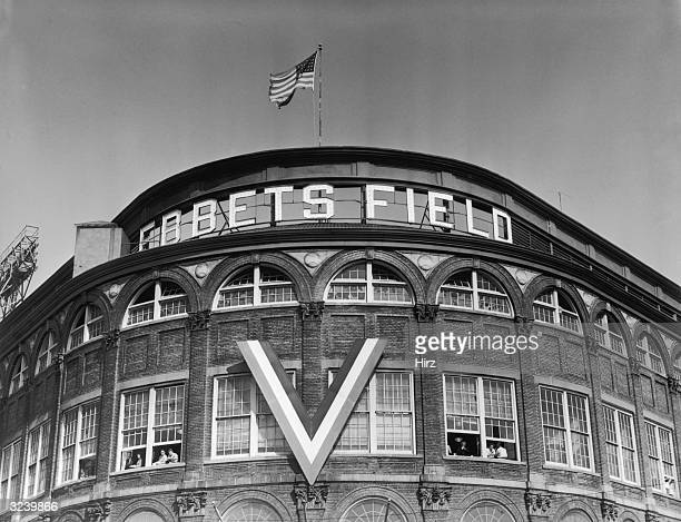 View of the curved exterior Rotunda at the entrance to Ebbets Field home of the Brooklyn Dodgers in the Flatbush section of Brooklyn New York City A...