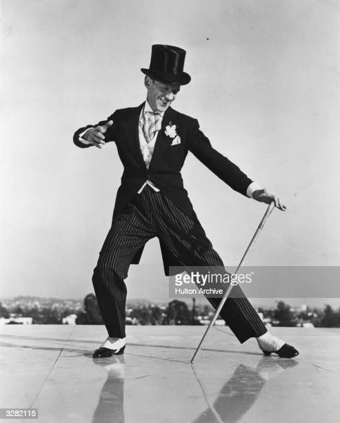 Fred Astaire the stage name of Frederick Austerlitz, the American dancing star, dons the familiar top hat, Ascot tie and tails for his farewell...