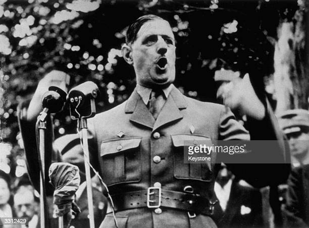 General Charles De Gaulle making his first public speech since his 'retirement'