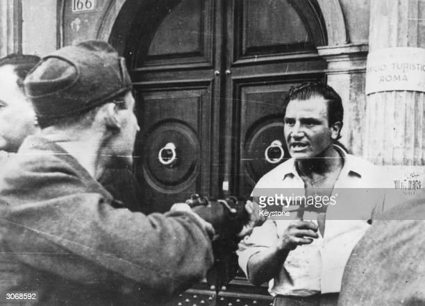 Partisans arresting suspected fascists in Rome