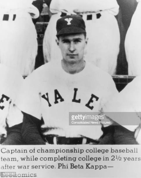 Portrait of future US president George Bush wearing his team jersey and cap as captain of his college baseball team Yale University Connecticut