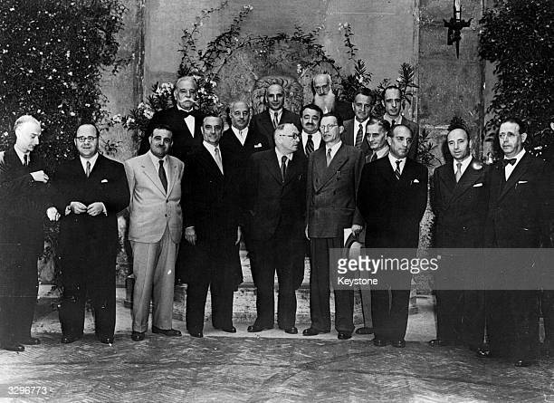The newlysworn in Italian government formed by prime minister Alcide de Gasperi which is composed of Christian Democrats Socialists Communists and...