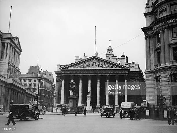 The Royal Exchange at Threadneedle Street and Cornhill in the financial district of London