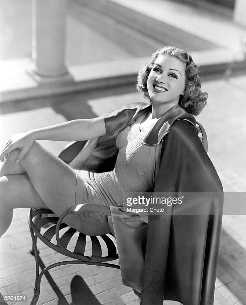 Grace Bradley one of Paramount's finer figures tops up her suntan She appeared in 'Thirteen Hours by Air'