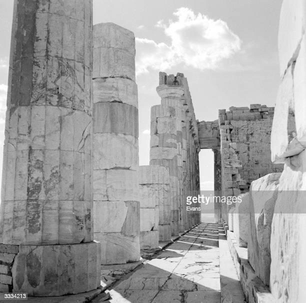 Inside the Parthenon on the Acropolis, Athens.