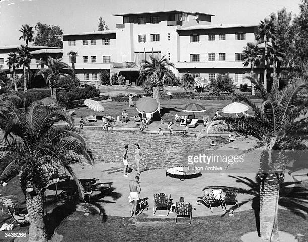 The outdoor swimming pool at Bugsy Siegel's Flamingo Hotel, Las Vegas, Nevada.