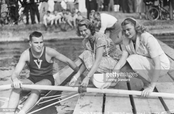 American actress Grace Kelly with her sister Elizabeth and her brother John B Kelly Jnr at Henley Royal Regatta HenleyonThames