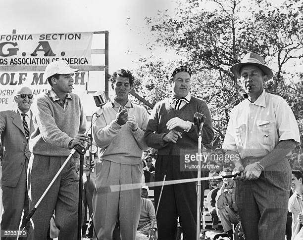 LR American comedian Jerry Lewis American singer and actor Dean Martin Britishborn entertainer Bob Hope and American singer and actor Bing Crosby...