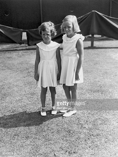 Portrait of Anne and Charlotte Ford daughters of automobile executive Henry Ford II Southampton New York
